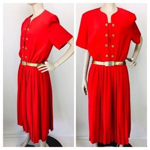 VTG Leslie Fay Red Pleated Skirt Secretary Dress